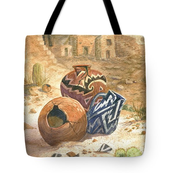 Tote Bag featuring the painting Old Indian Pottery by Marilyn Smith