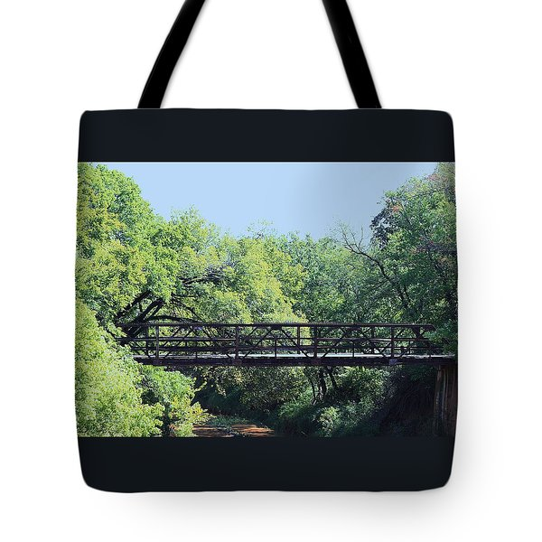 Tote Bag featuring the photograph Old Iron Bridge Over Caddo Creek by Sheila Brown