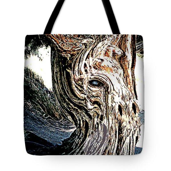 Tote Bag featuring the digital art Old Juniper Mule Tree by Merton Allen