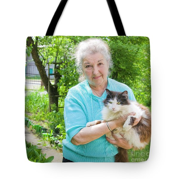 Old Lady With Cat Tote Bag