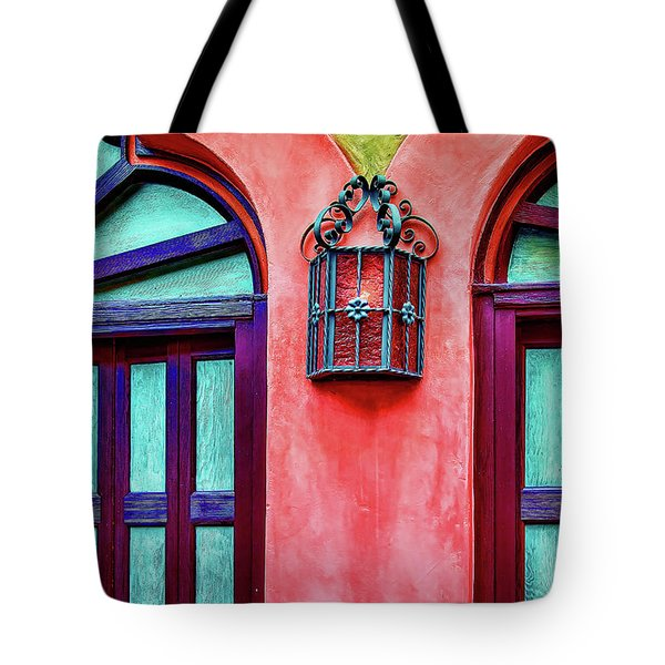 Tote Bag featuring the photograph Old Lamp Between Windows by Gary Slawsky