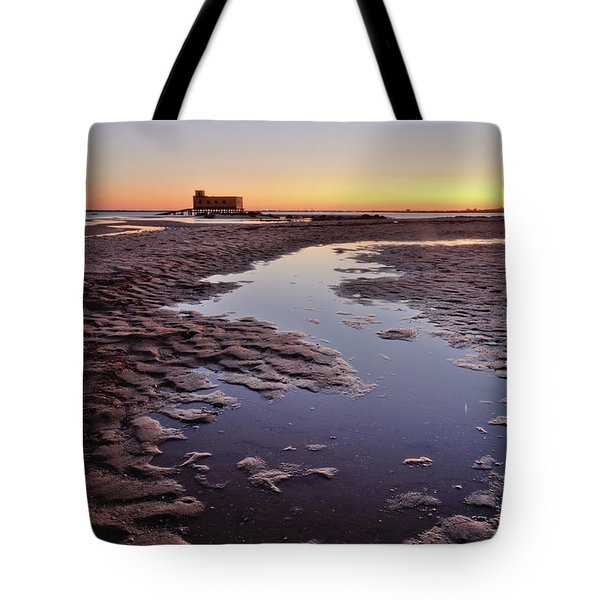 Old Lifesavers Building At Twilight Tote Bag by Angelo DeVal