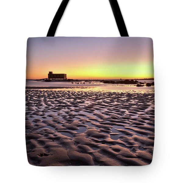 Old Lifesavers Building Covered By Warm Sunset Light Tote Bag by Angelo DeVal