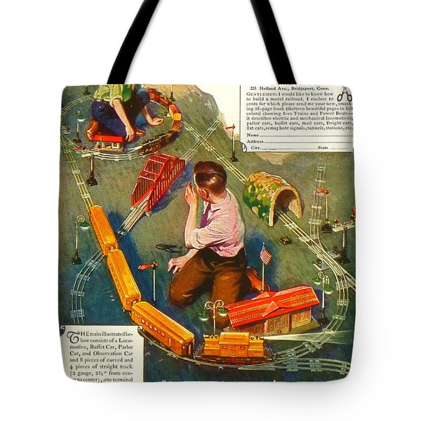 Old Litho Print Toy Train Advertisement Tote Bag