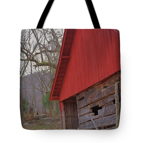 Tote Bag featuring the photograph Old Log Barn by Debbie Karnes