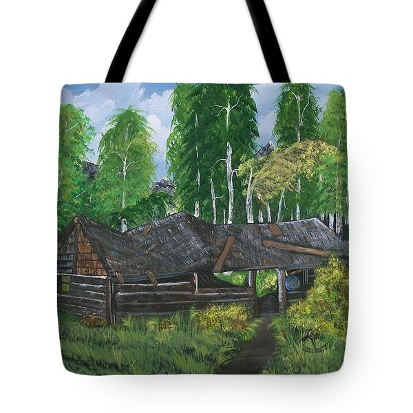 Tote Bag featuring the painting Old Log Cabin And   Memories by Sharon Duguay
