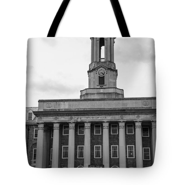 Old Main Penn State Black And White Tote Bag by John McGraw