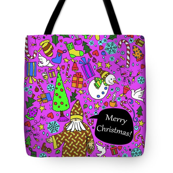 Old Man In The Peanut Merry Christmas Tote Bag by Ismael Cavazos