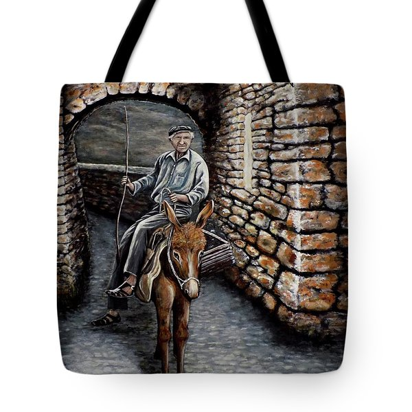 Tote Bag featuring the painting Old Man On A Donkey by Judy Kirouac