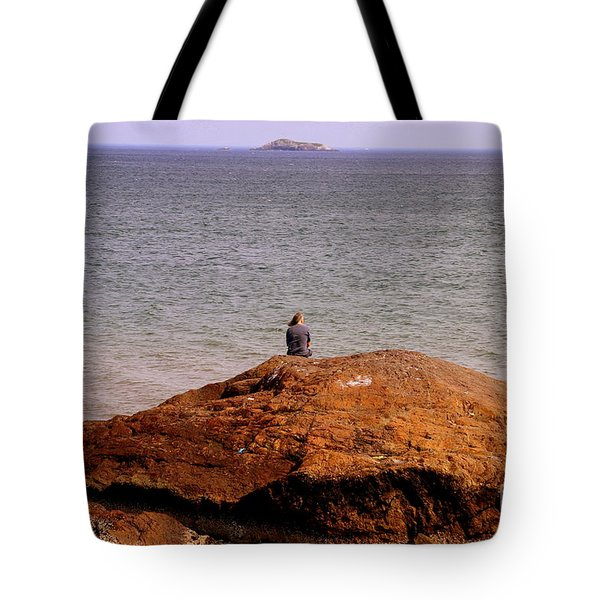 Old Man  On A Rock Tote Bag