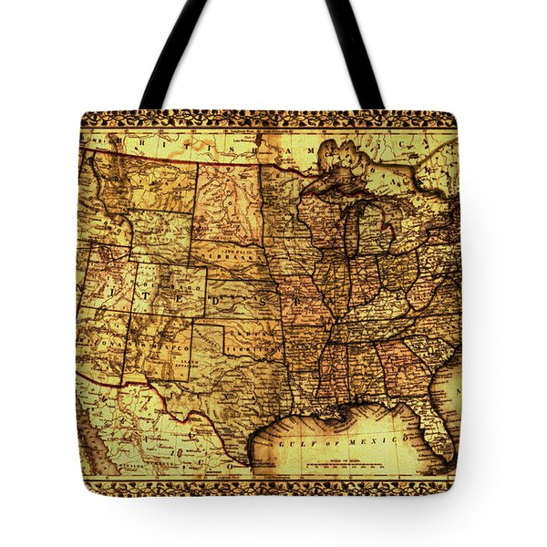 Old Map United States Tote Bag