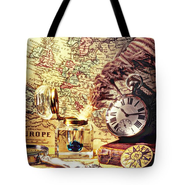 Old Maps And Ink Well Tote Bag by Garry Gay