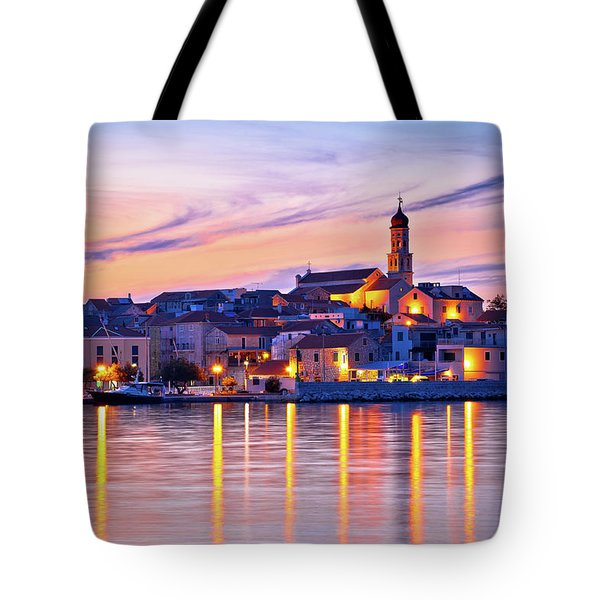 Old Mediterranean Town Of Betina Sunset View Tote Bag