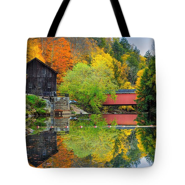 Old Mill In The Fall  Tote Bag by Emmanuel Panagiotakis