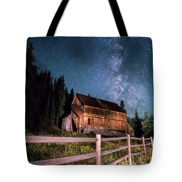 Old Mining Camp Under Milky Way Tote Bag