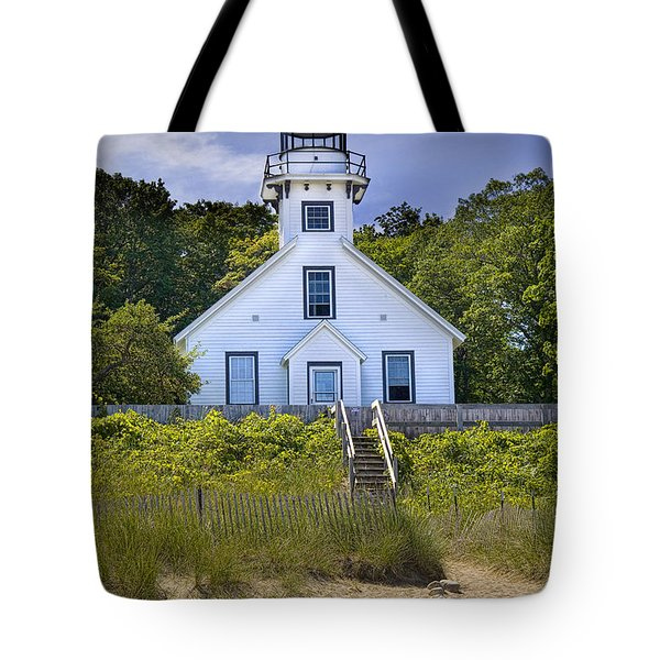 Old Mission Point Lighthouse In Grand Traverse Bay Michigan Number 2 Tote Bag by Randall Nyhof