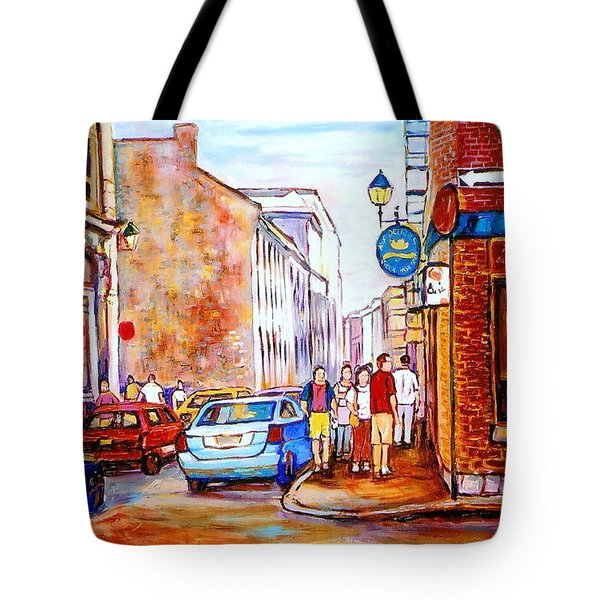 Old Montreal Paintings Calvet House And Restaurants Tote Bag by Carole Spandau