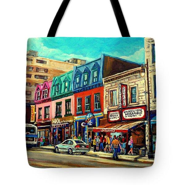 Old Montreal Schwartzs Deli Plateau Montreal City Scenes Tote Bag by Carole Spandau