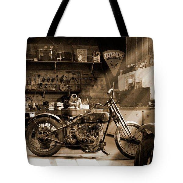 Old Motorcycle Shop Tote Bag