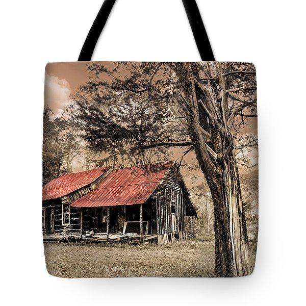 Old Mountain Cabin Tote Bag by Debra and Dave Vanderlaan