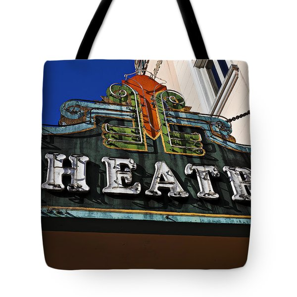 Old Movie Theatre Sign Tote Bag by Garry Gay