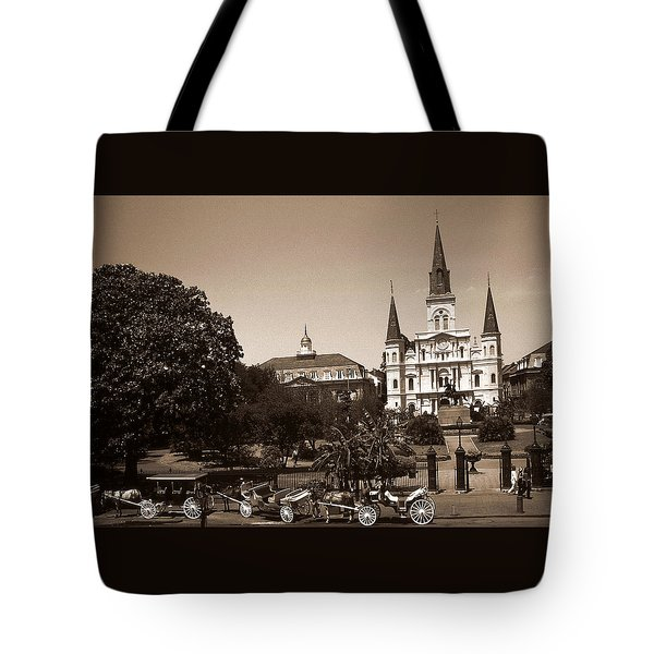 Old New Orleans Photo - Saint Louis Cathedral Tote Bag by Art America Gallery Peter Potter