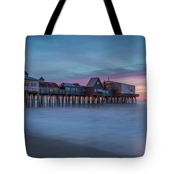 Old Orcharch Beach Pier Sunrise Tote Bag