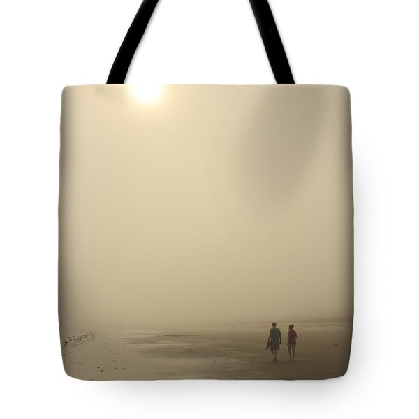 Old Orchard Beach Foggy Evening Tote Bag by John Burk