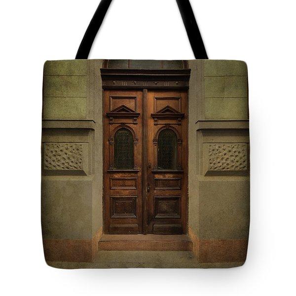 Old Ornamented Wooden Gate In Brown Tones Tote Bag by Jaroslaw Blaminsky