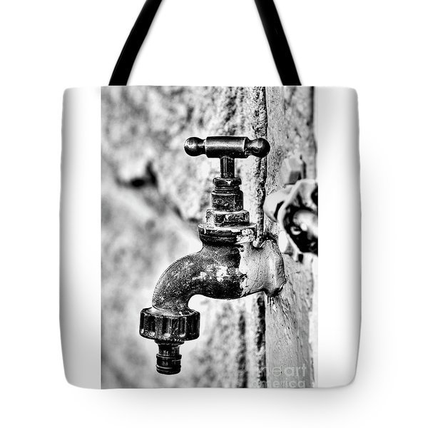 Old Outdoor Tap - Black And White Tote Bag