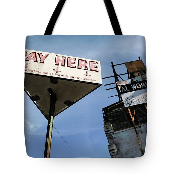 Old Pay Here Parking Sign Vintage Decay Tote Bag