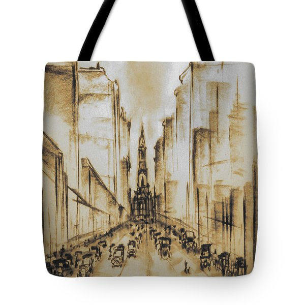 Old Philadelphia City Hall 1920 - Vintage Art Tote Bag by Art America Gallery Peter Potter