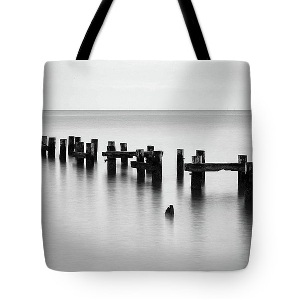 Old Pilings Black And White Tote Bag