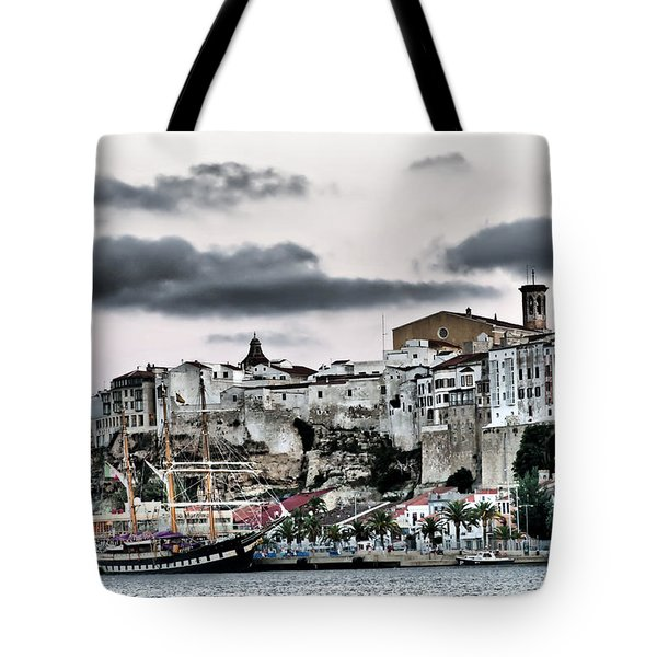 Old Port Mahon And Italian Sail Training Vessel Palinuro Hdr Tote Bag
