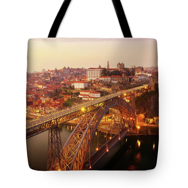 old Porto at  Pink Sunset, Portugal Tote Bag