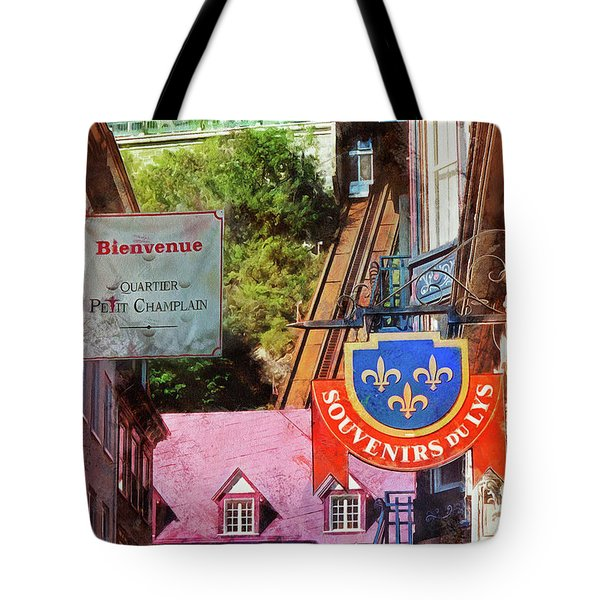 Old Quebec City Funicular Tote Bag