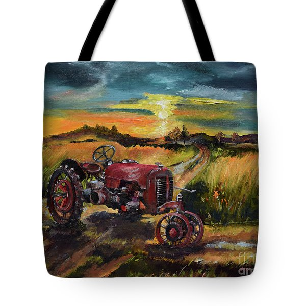 Old Red At Sunset - Tractor Tote Bag