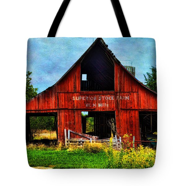 Old Red Barn And Wild Sunflowers Tote Bag