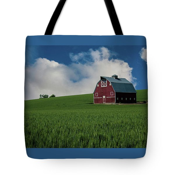 Old Red Barn In The Palouse Tote Bag by James Hammond