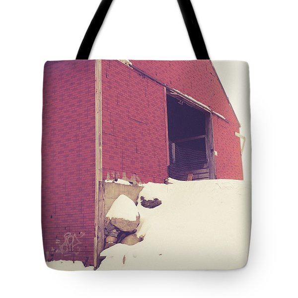 Tote Bag featuring the photograph Old Red Barn In Winter by Edward Fielding