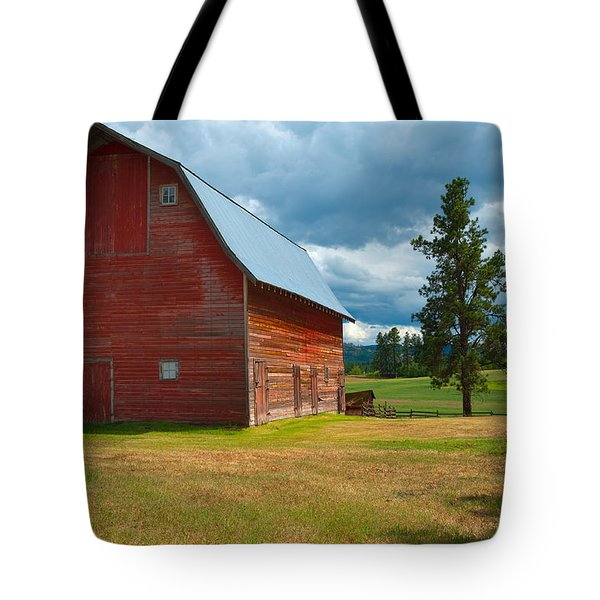 Old Red Big Sky Barn Tote Bag by Sandra Bronstein
