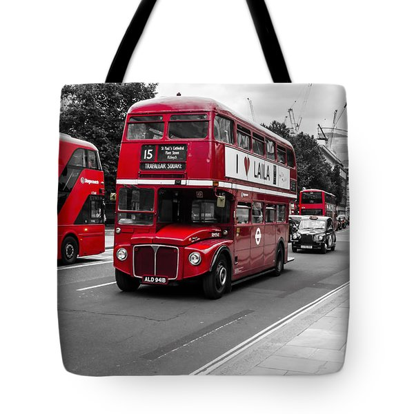 Old Red Bus Bw Tote Bag