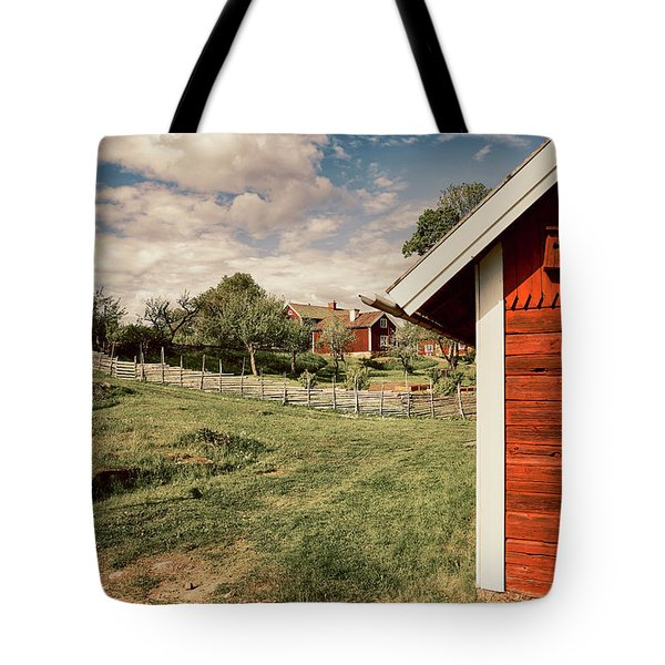 Old Red Farm Set In A Rural Nature Landscape Tote Bag