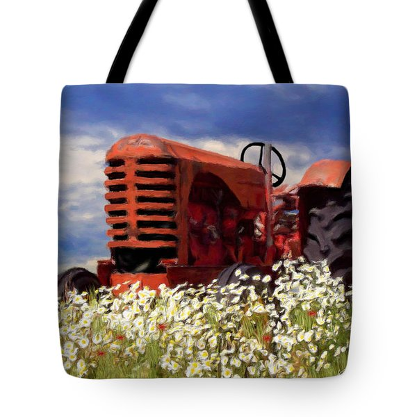 Old Red Tractor Tote Bag
