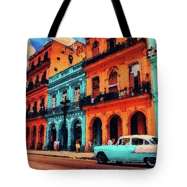Tote Bag featuring the painting Old Retro Car In Havana by PixBreak Art