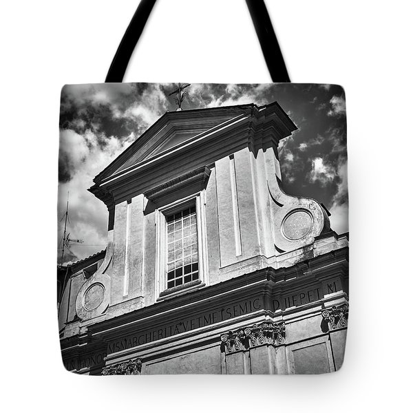 Old Roman Building In Black And White Tote Bag