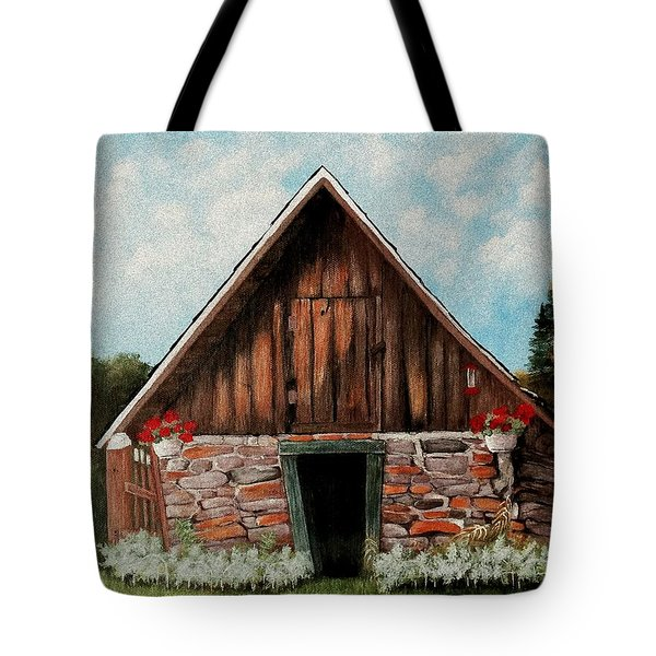 Tote Bag featuring the painting Old Root House by Anastasiya Malakhova