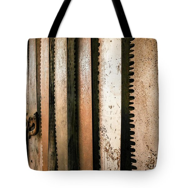 Retired Rusted Saws Tote Bag by Lexa Harpell