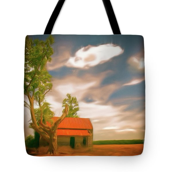 Old Rustic Vintage Farm House And Tree Ap Tote Bag