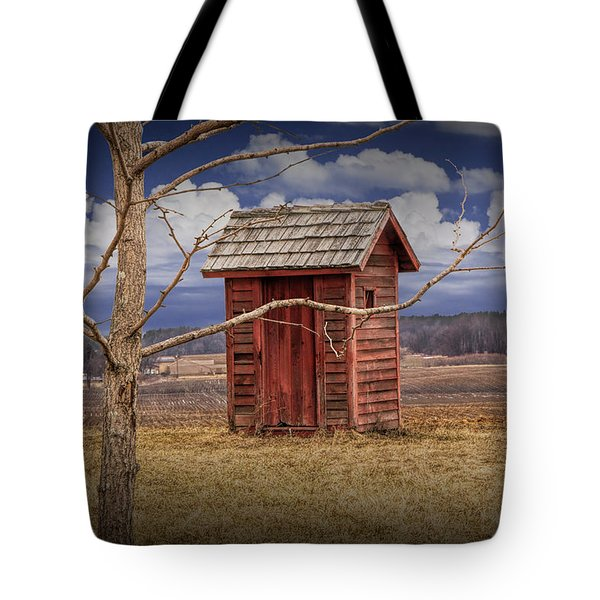 Old Rustic Wooden Outhouse In West Michigan Tote Bag
